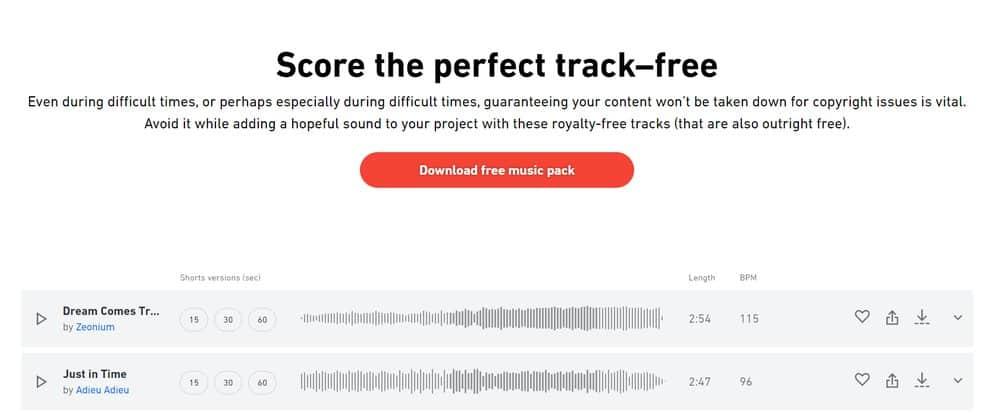 Free music tracks